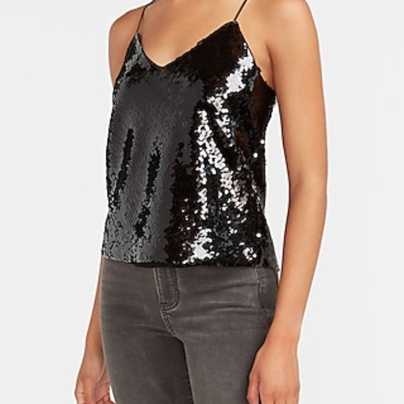 Express Cropped Black Sequin Cami